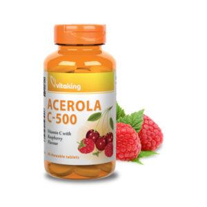 Acerola C-vitamin rágótabletta 500mg - Málnás ízben